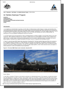 ANAO Audit Summary Report - Air Warfare Destroyers